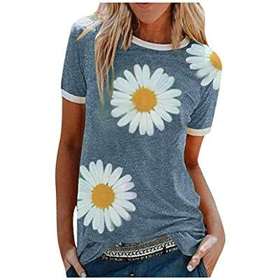 Women Short Sleeve Top T Shirt Crew Neck Tee Sunflower/Cat Casual Shirt Summer Loose Basic Tops Tee Blouses Shirts