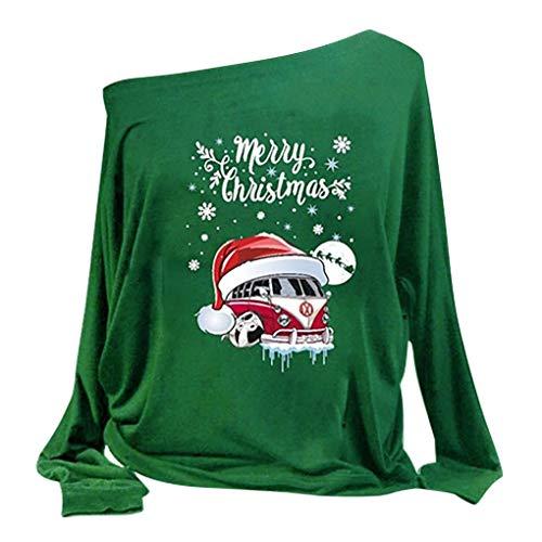 Weihnachtskostüme/Dorical Damen Weihnachtsbluse Drucken Lange Ärmel Schräglage Halsband Sweatshirt Elegant Bluse Tops Casual Oberteile(Grün,X-Large)