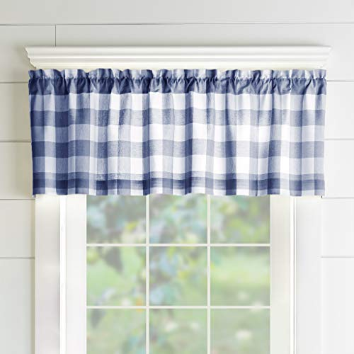"Elrene Home Fashions Farmhouse Living Buffalo Check Window Kitchen Valance, 60"" x 15"" (1, Blue/White"