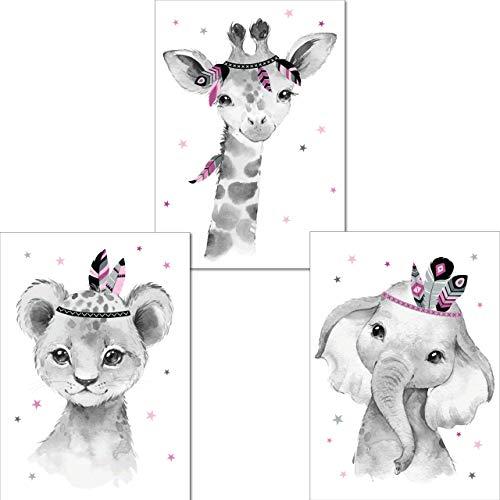 LALELU-Prints | A4 Bilder Kinderzimmer Poster | Zauberhafte Indianer-Tiere Boho Feder rosa | Babyzimmer Deko Mädchen | 3er Set Kinderbilder (DIN A4 ohne Rahmen)