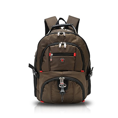 FANDARE Alpinista All'aperto Premium Zaino Computer Portatile Laptop 10''-15.6'' Viaggi School Scuola Escursionismo Campeggio Borsa Alta Capacità Leggera Poliestere Caffè