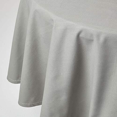 HOMESCAPES Nappe de Table Ronde, Linge de Table en Coton uni Gris - 178 cm