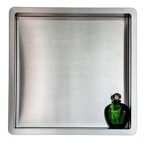 Estantes de baño | estante de ducha empotrado de pared acero inox , 30x30, nicho de ducha COMPONENDO, Made In Italy (SATIN)