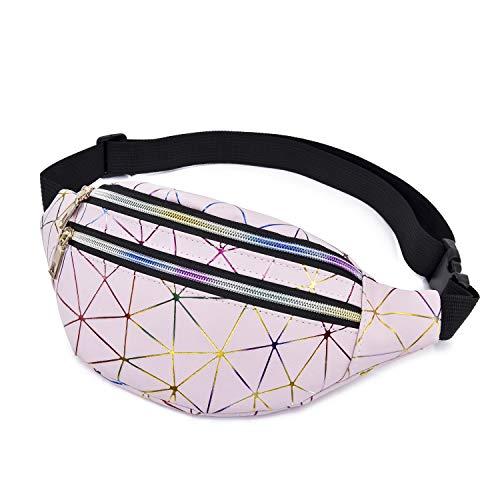 Geagodelia Bauchtasche Gürteltasche für Damen Mädchen Stylische PU Hüfttasche mit Verstellbarer Gurt für Reise Wandern Outdoor Festival FB17991 (Pink)
