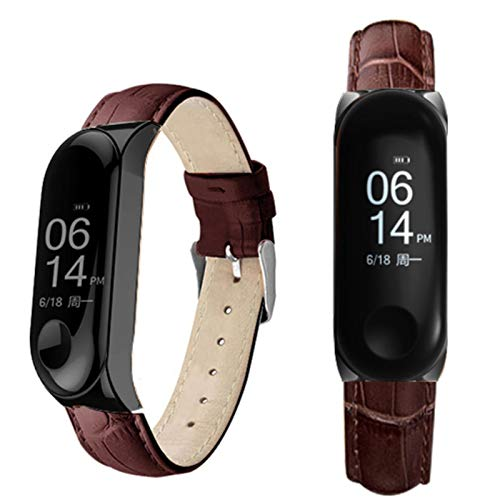 Correa de reloj inteligente negra con caja de oro rosa para Xiaomi Mi Band 4/5 Correa de cuero para xiaomi mi band 4/3 pulsera Miband 5/4/3 Correa