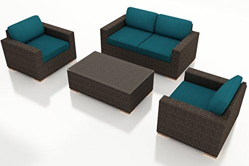 Harmonia Living HL-ARD-CH-4SS-PC 4 Piece Arden Sofa Set, Spectrum Peacock Cushions