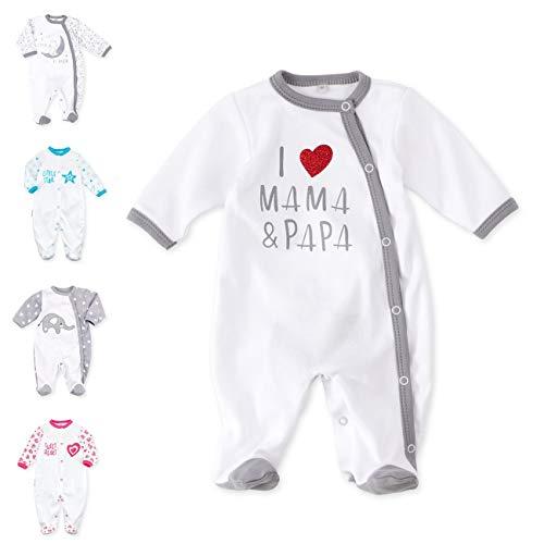 Baby Sweets Baby Strampler für Mädchen und Jungen/Baby-Overall in Weiß Grau als Schlafanzug und Babystrampler im Motiv I Love Mama & Papa für Neugeborene und Kleinkinder in der Größe: 9 Monate (74)