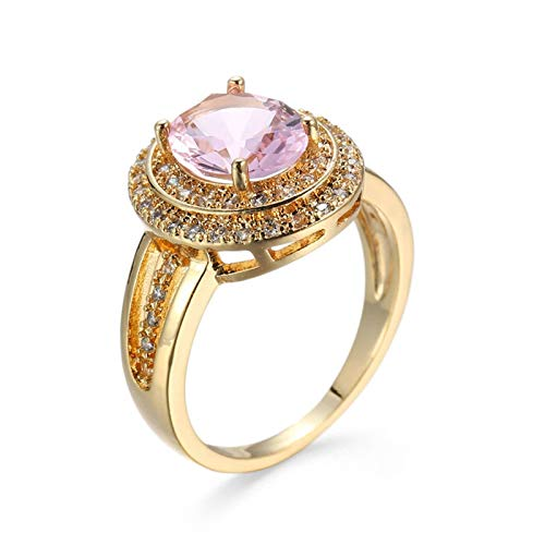 Malinmay 925 Diamond Ring, Stainless Steel Simple Ring Gold-Plated Female Zircon Pink for Wedding Engagement Gifts Gold R 1/2
