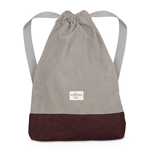 Rucksack Gym Bag Sack Turnbeutel Baumwolle Canvas Tasche Sport Frauen Männer Kinder, Farbe:Beige