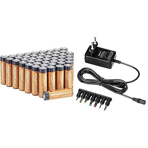 AmazonBasics Performance Batterien Alkali, AA, 48 Stück (Design kann von Darstellung abweichen) & Universal-Steckernetzteil mit 7 abnehmbaren Steckern, 3-12V (Gleichspannung), umkehrbare Polarität