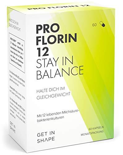 Pro Florin 12 - Kulturen Komplex - 60 Kapseln der 12 wichtigsten Bakterienstämme (hochdosiert mit 20 Mrd. KbE), Vitamin B6, B12 - Effektive Mikroorganismen zum Darmflora Aufbau von Get In Shape