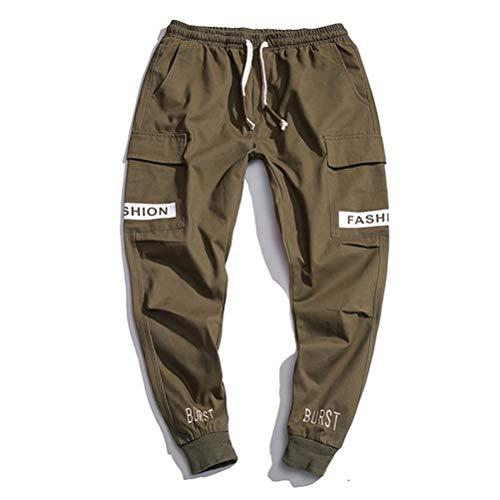 Preisvergleich Produktbild Männer Casual Hip Hop Hosen Nähen Multi-Pocket Drawstring Elastische Taille Brief Cotton Beam Fuß Hosen Overalls