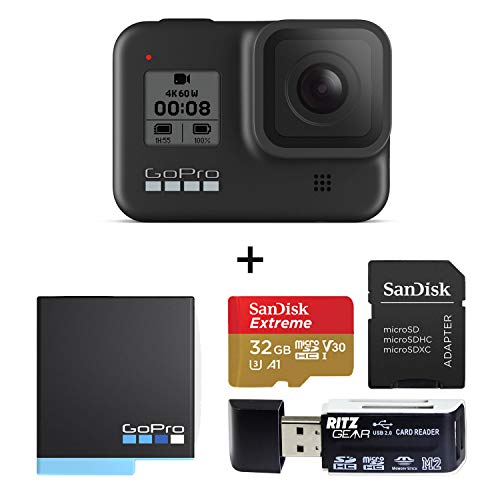 GoPro Hero 8 Black Edition Action Camera Kit with Sandisk Extreme 32GB Memory Card, Card Reader and GoPro Hero 8 Spare Battery