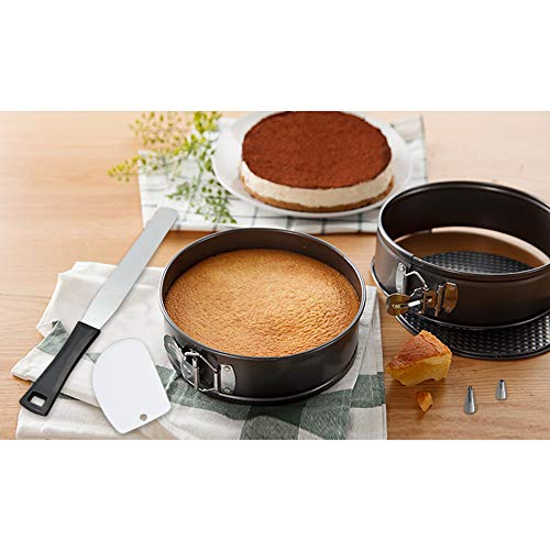 MiHerom Nonstick Springform Pan Set,4-7-9.5 Inch Leakproof Round Cheesecake Pans,Advanced Spraying,Thick Higher Side Cake Pans with Spatulas,Quality Piping Set,Fit in Pressure Pot,Air Fryer for Baking