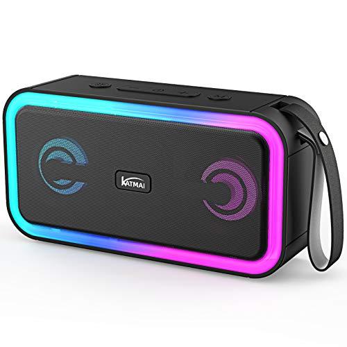 Kabelloser Bluetooth Lautsprecher, KATMAI F60,IPX7 Bluetooth Lautsprecher mit Lautem Stereosound, 15 Stunden Spielzeit, Verlaufslicht, tragbarer Lautsprecher für Zuhause, draußen, Reisen und Party