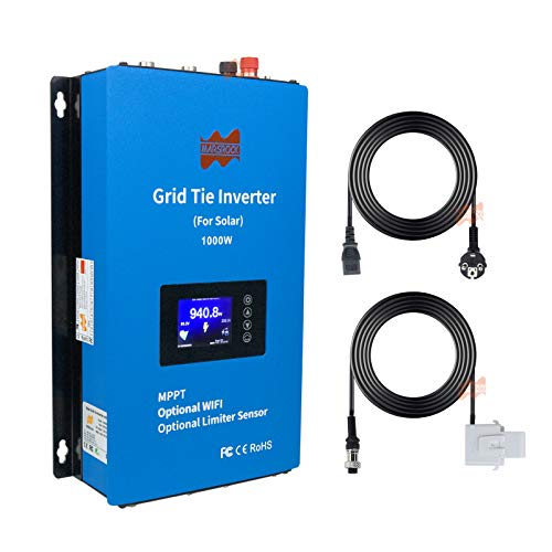 Marsrock 1000W PV Grid Tie Inverter Power Limiter Wide Voltage 22-60VDC for Solar Panel Input AC110V/220V Auto Switch (1000W24V)