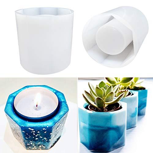 Large Resin Plant Pot Molds,2Pcs Succulent Plant Vase Gypsum Cement Molds,Concrete Clay Mould,Octagon Silicone Molds for Resin Casting/Flower Pot/Pen Holder/Candle Holder Molds