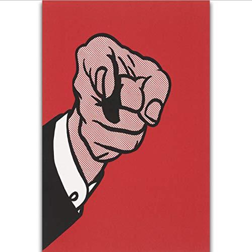 DPFRY Leinwandbild Finger Zeigen Roy Lichtenstein Pop Wollen Sie Wandkunst Malerei Druck Auf Seide Leinwand Poster Dekoration Af3Y 40X60 cm Rahmenlose