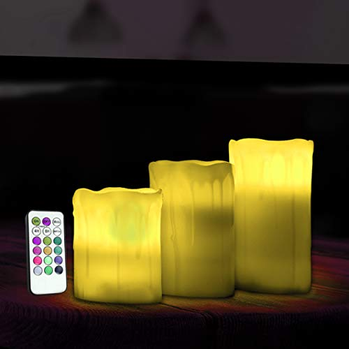 Globrite 3 Pack Flameless Drip Ivory Finish Vanilla Scented Colour Changing Candle with LED Remote Home Indoor Lighting