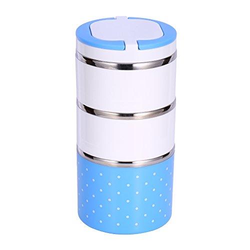 Yosoo Isolierung Thermal Lunch Box Edelstahl Lebensmittel Lagerung Container Portable Bento Box Mit Griff Cute Dot Pattern 1/2/3 Schichten (Farbe : Blau, Abmessung : 1200ML)