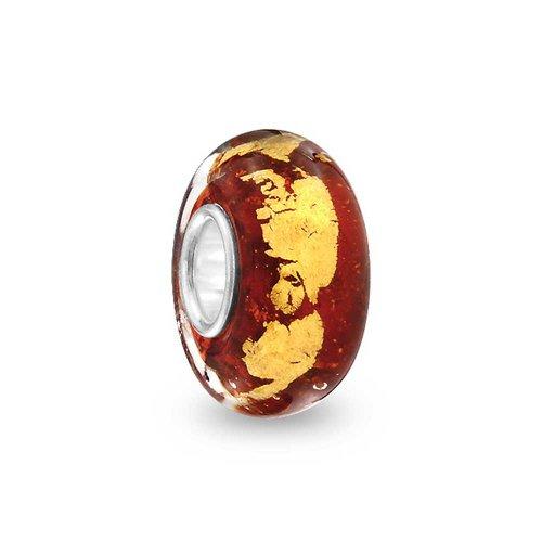 Murano Glas Rot Goldene Metallfolie Bead Charms Für Damen Für Jugendlich Fit Europäischen Armband Sterling Silber
