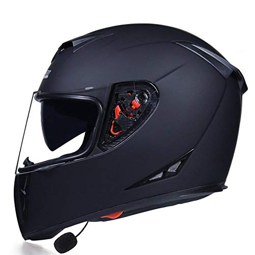 Cascos modulares de Motocicleta,Casco Moto Bluetooth Integrado,luetooth Cascos de Moto Scooter con Doble Anti Niebla Visera, para contestar automático Dot Certificación