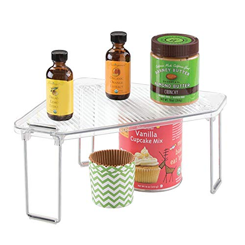mDesign Corner Plastic/Metal Freestanding Stackable Organizer Shelf for Kitchen Countertop, Pantry or Cabinet for Storing Plates, Mugs, Bowls, Canned Goods, Baking Supplies - Clear/Chrome