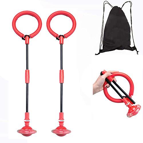 Bolas de Salto de Tobillo Parpadeante 2PCS Bola de Salto Plegable para niños con Bolsa de Almacenamiento, Anillo de Salto de luz Colorida (no se Necesita batería) de Juguete de Bola de Swing Hop