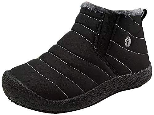 CCZZ Unisex warmer schnee stiefel stiefeletten pelzbesatz stiefel anti slip eindickung-walking-schuhe sohle für eltern cotton schuhe 1 uk 10.5 uk child schwarz - kid