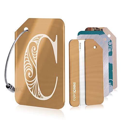 Initial Luggage Tags for Men and Women, Personalised Stainless Steel Luggage Labels for Suitcases, with 3 Bonus Name ID Cards and 2 Stainless Steel Loops, Rose Gold, Letter C