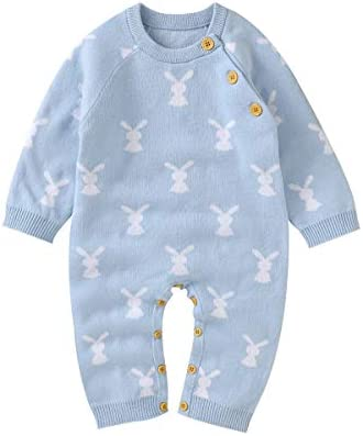 Hadetoto Baby Cotton Romper Boy Girls Knit One Piece Coverall Easter Bunny Outfits Blue 6 9 product image