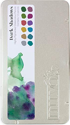 Tonic Studios Nuvo Watercolor Pencils 12/Pkg-Dark Shadows