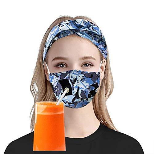 Yesloveme Mascarilla Facial Con Agujeros Y Cinta Para El Pelo, Protector Solar Facial Para Mujer, ProteccióN Facial Contra El Polvo Y El Viento, Diadema Con MáScara Ajustable De Camuflaje
