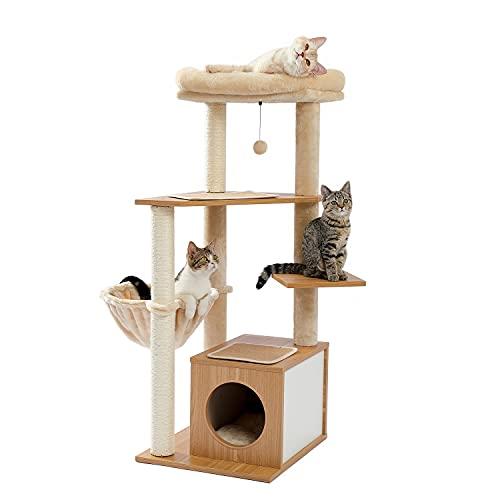 Amazon Brand – Umi Wooden Cat Tree Multi Level Scratch Post Medium Stylish Cat Furniture 1 Condo Kitten Activity Centre 118cm Beige