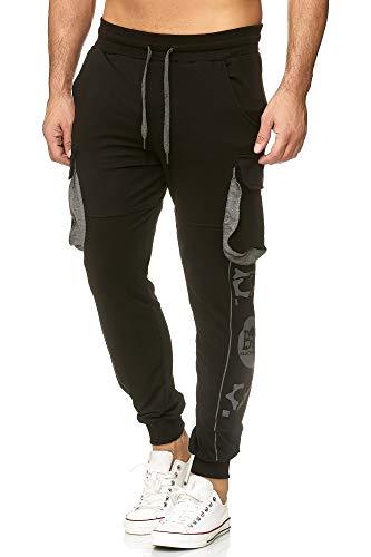 Tazzio Jogginghose Slim Fit Herren Cargo Hose Cargohose Sporthose Fitness Freizeit Trainingshose Print Sweat Sweatpants Jogger | 19615 (Schwarz, M)