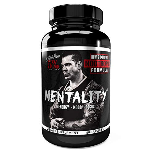 Rich Piana 5% Nutrition Mentality Nootropic Blend | Brain Booster Supplement for Performance, Memory, Mental Clarity | Ginseng, Ginkgo, L-Theanine, Choline, Huperzine, 60 Capsules (30 Day Supply)