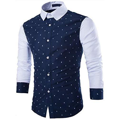SPECIALOFFERKYZ - Camisa de manga larga para hombre, minimalista, informal, de gran tamaño, diseño de impresión a juego, color a juego