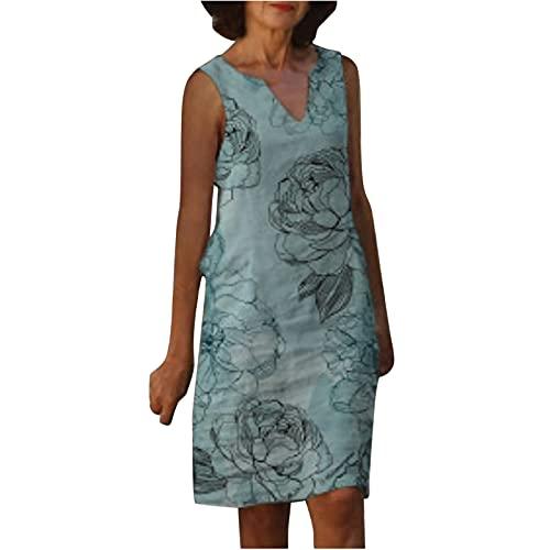 Vestido de verano para mujer, sin mangas, con cuello en V, estampado holgado, hasta la rodilla, para fiesta, elegante, vestido informal