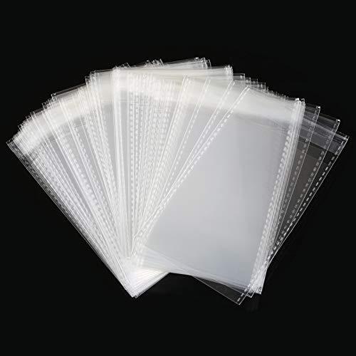 Gwhole 100pz Sacchettini Plastica Trasparenti Sacchetti Piccoli Bustine Autoadesivi con Striscia Adesivi per Regalo Caramella (7x10 cm)
