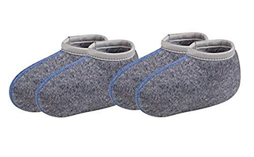 TippTexx 24 2 Paar Stiefelsocken, Ideal auch für Gummistiefel, Nässeschutz, warm (Kinder-29/30, Grau mit Wolle - 2 Paar)