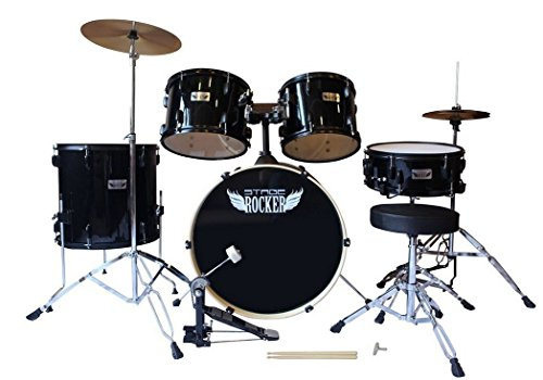 Stage Rocker 5pc drum set with double-braced hardware (Cymbals, Stool and Sticks...