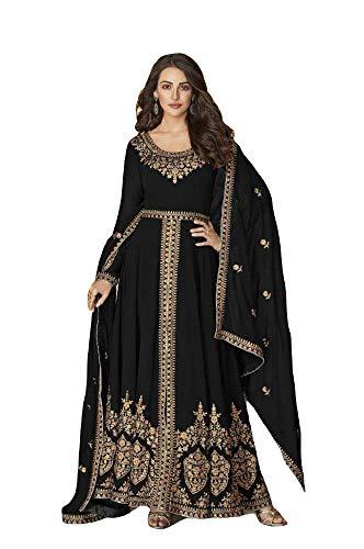 Alamara - Costume de créateur Bollywood brodé prêt à porter - Pour femme - Noir - 48