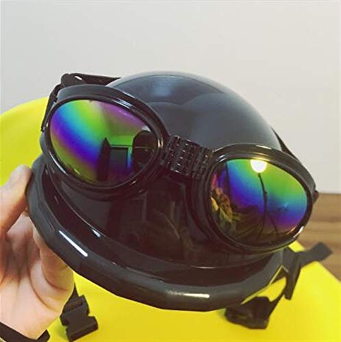 Z-LIANG Perro Motocicleta Casco Casco de Seguridad Casco Fresco Casco Sombrero Perro Divertido Mascota Adornos de Sol Gafas de Sol Motociclistas (Color : Black, Size : Head 48cm)