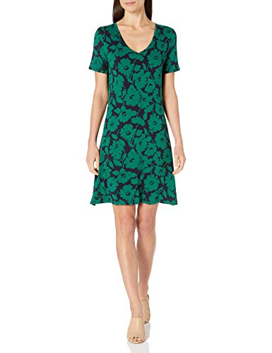 Amazon Essentials Short-Sleeve V-Neck Swing Dress, Verde Navy Abstract Floral, XL