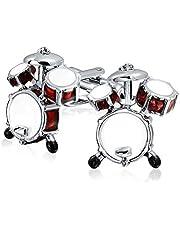 Il Batterista Musicista Drum Set Shirt Gemelli Peri Uomini Cerniera Retro Marrone Tono Argento Acciaio in Ottone