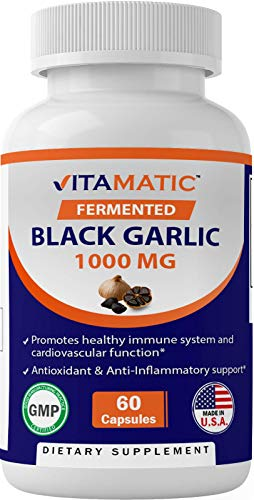 Vitamatic Fermented Black Garlic Extract 1000 mg 60 Capsules - Non-GMO, Gluten Free - Antioxidant and Cholesterol Support