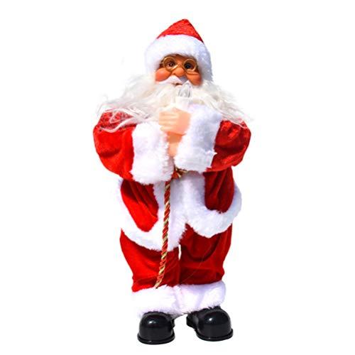Amosfun muñeca de Navidad eléctrica Santa Claus con Vela Cantando música muñeca...