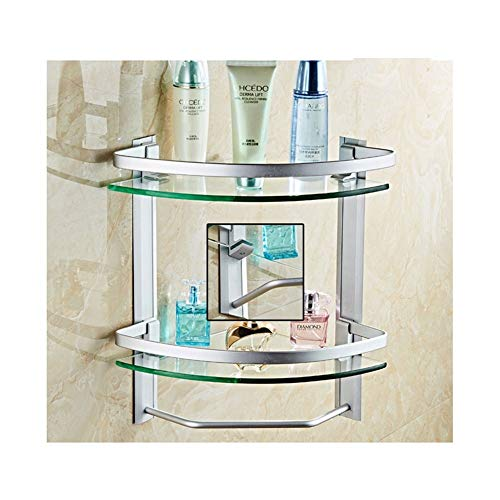ZhanMaz - Toallero para baño, antióxido, estantes de cristal, para colgar, estante de ducha, estantes de baño, fácil de limpiar, con perforaciones