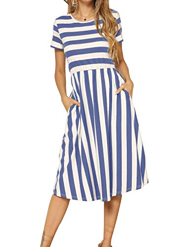 levaca Women's Short Sleeve Empire Waist Striped Swing Pockets Midi Dress LightBlue S