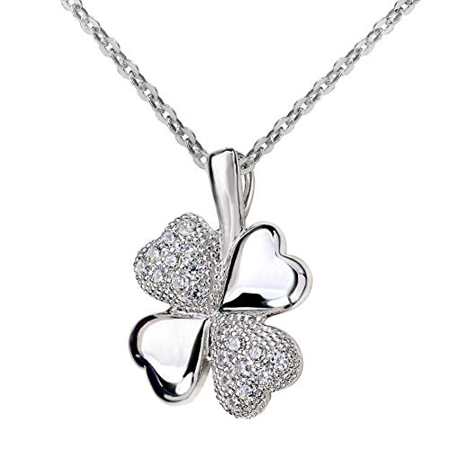 Materia Women's Clover Leaf Pendant 925 Silver - Talisman Lucky Charm with Chain and White Zirconia Rhodium-Plated in Case With 45 cm chain